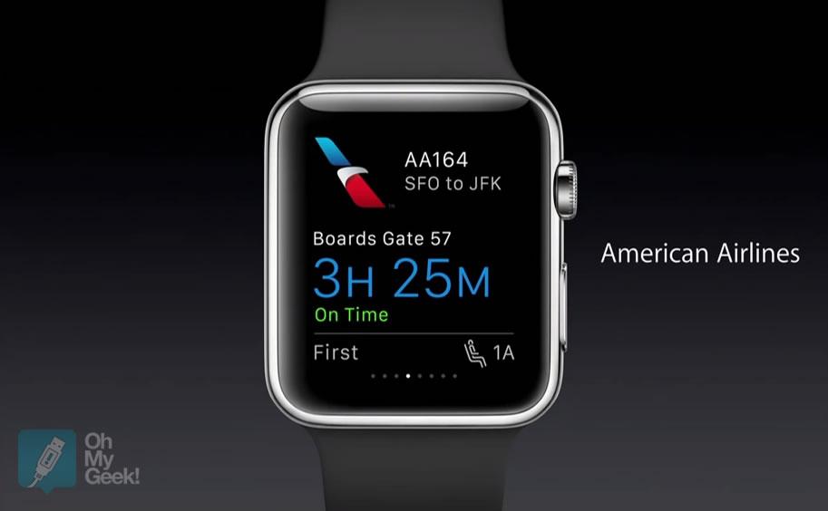 La aplicación American Airlines fue mostrada en el keynote del martes.