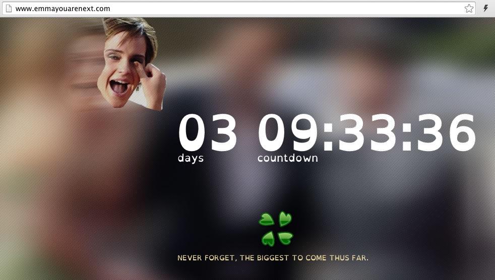 Así luce la Web con el contador que revelaría fotografías desnudas de Emma Watson.