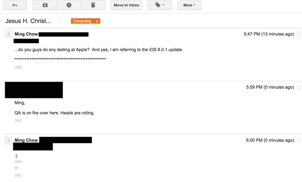 Ming Chow y su correo con un funcionario de Apple, corroborándole despidos en la compañía.