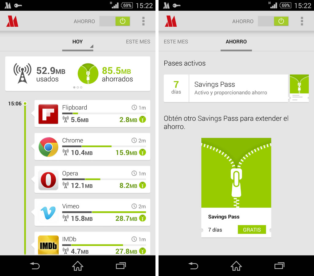 Así luce la aplicación de Opera Max en Android.