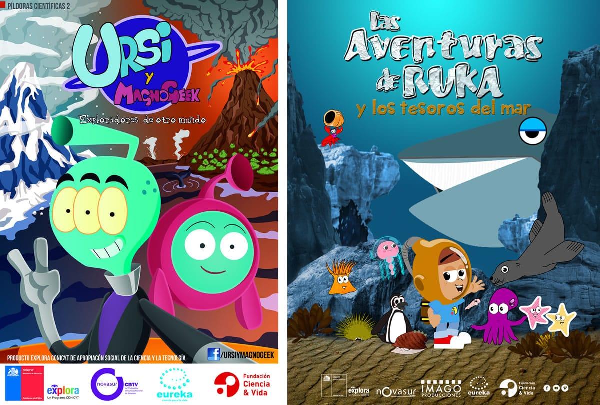 Afiches de las dos series que buscan incentivar a los niños en la ciencia.