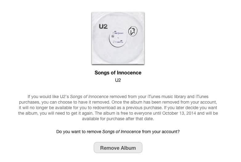 """Web que permite borrar el disco """"Songs of Innocence"""" de U2."""