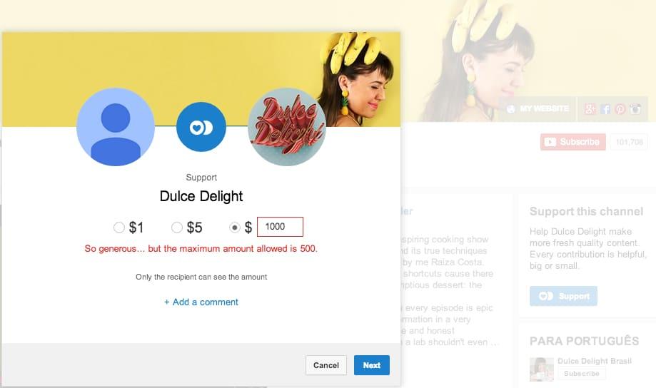 Youtube abrió la posibilidad a los usuarios de realizar donaciones a la plataforma.