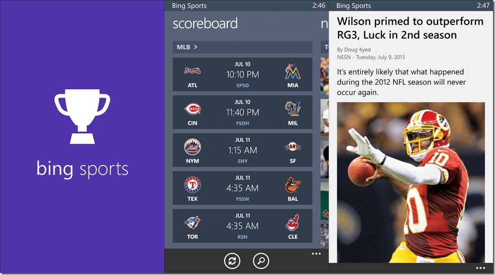 Aplicaciones como Bing Sports ahora serán llamadas MSN Sports.