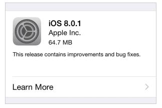Actualización de iOS 8.0.1.