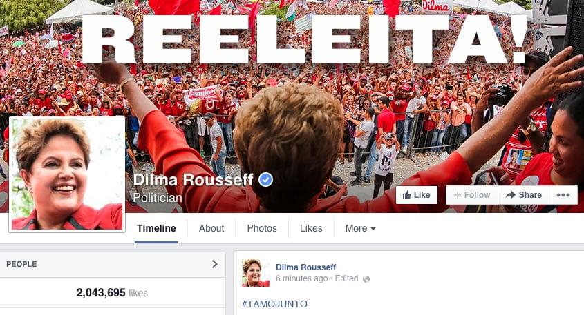 Brasil: La página de Facebook de Dilma, cuenta con más de 2 millones de Likes.
