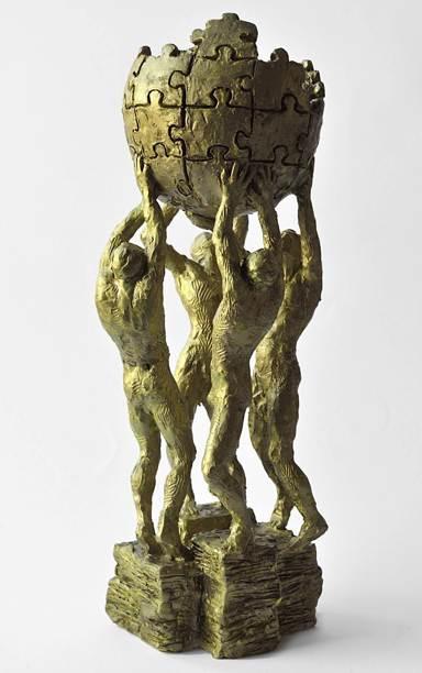 Polonia: Así luce el prototipo de la estatua para Wikipedia propuesto por Krzysztof Wojciechowski.