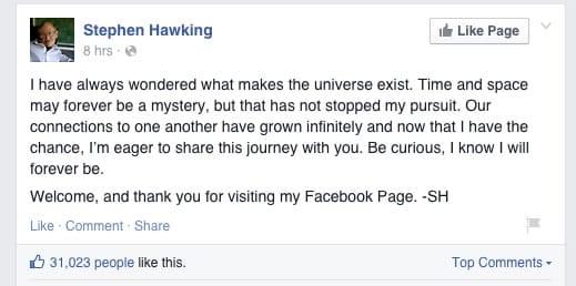 Primer escrito en Facebook de Stephen Hawking.