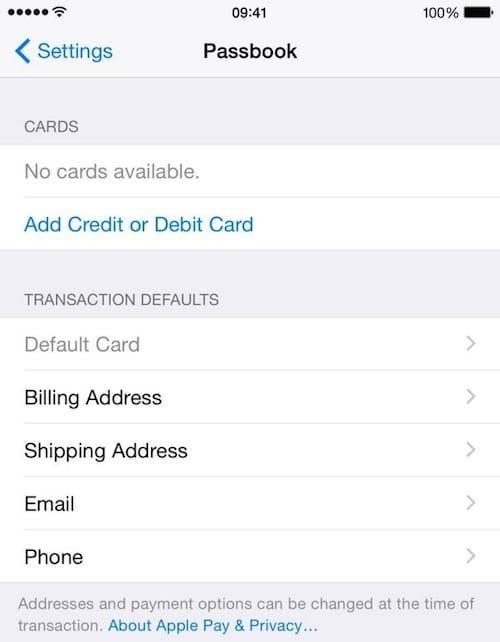 Interfaz de Apple Pay, con registro de datos bancarios.
