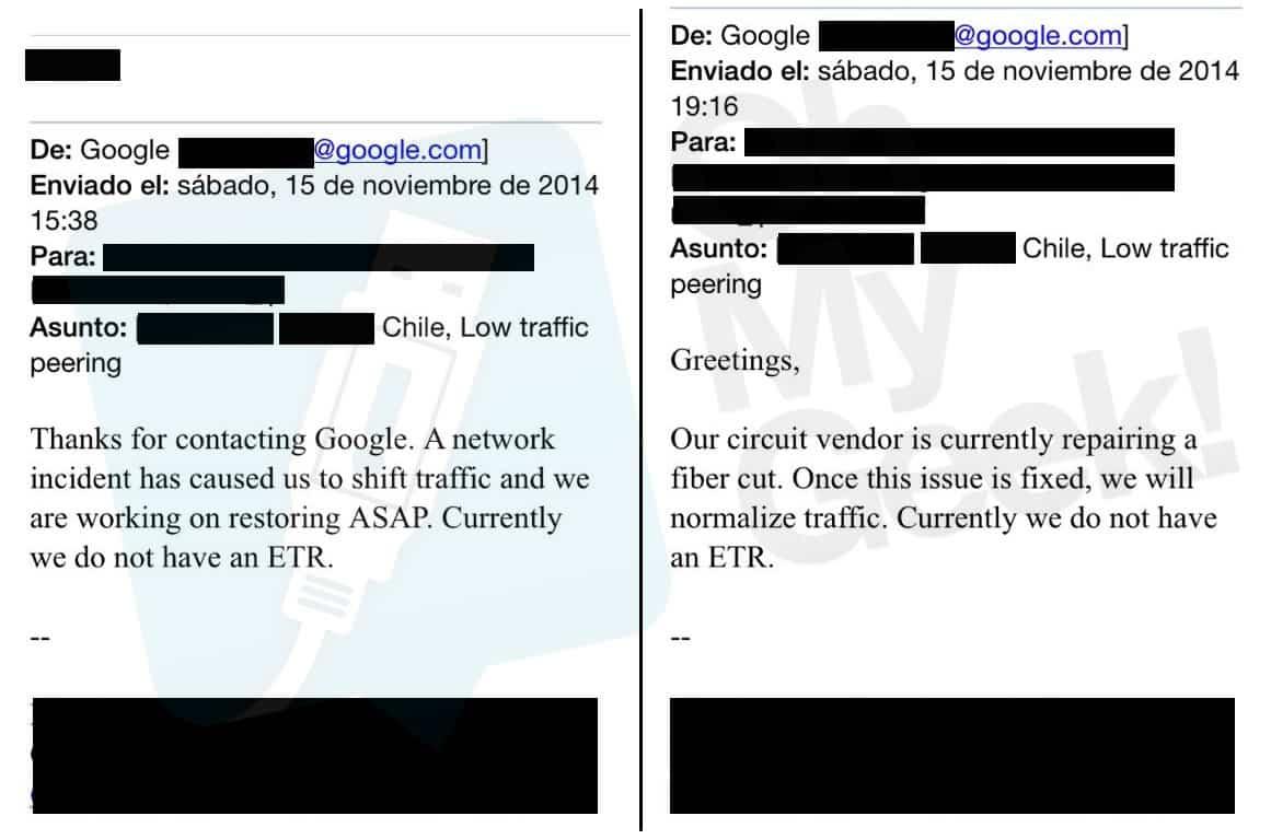 Correos desde el NOC de Google hacia operadores sobre corte de fibra.