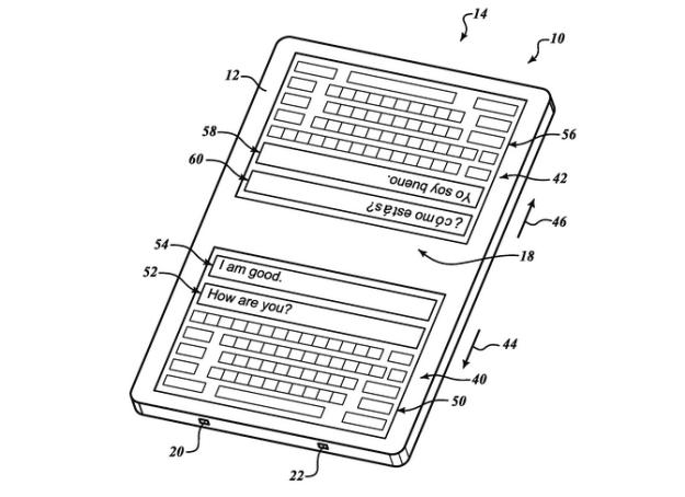 El teclado doble permitiría conversaciones en diferentes idiomas, gracias a traducciones simultáneas.