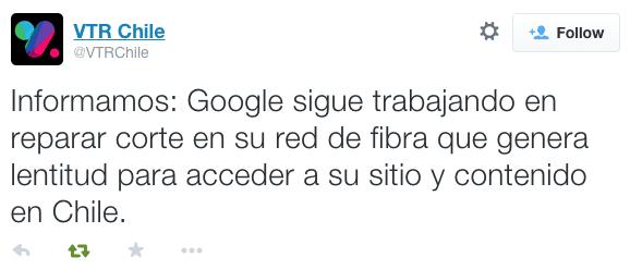 VTR Fibra Google Corte