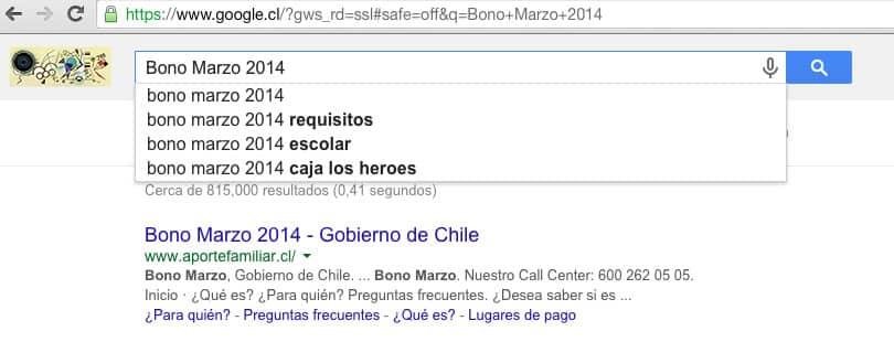 Bono Marzo 2014, una de las tendencias más buscadas por los chilenos este año.