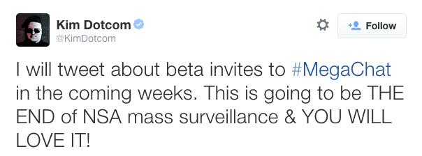 MegaChat sería un servicio totalmente a prueba de espionaje gubernamental, según Dotcom.