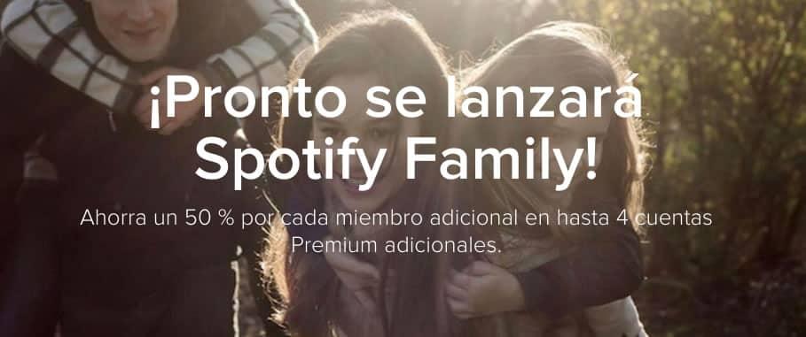 """Por ahora el landing de Spotify Family Chile tiene un """"Pronto""""."""