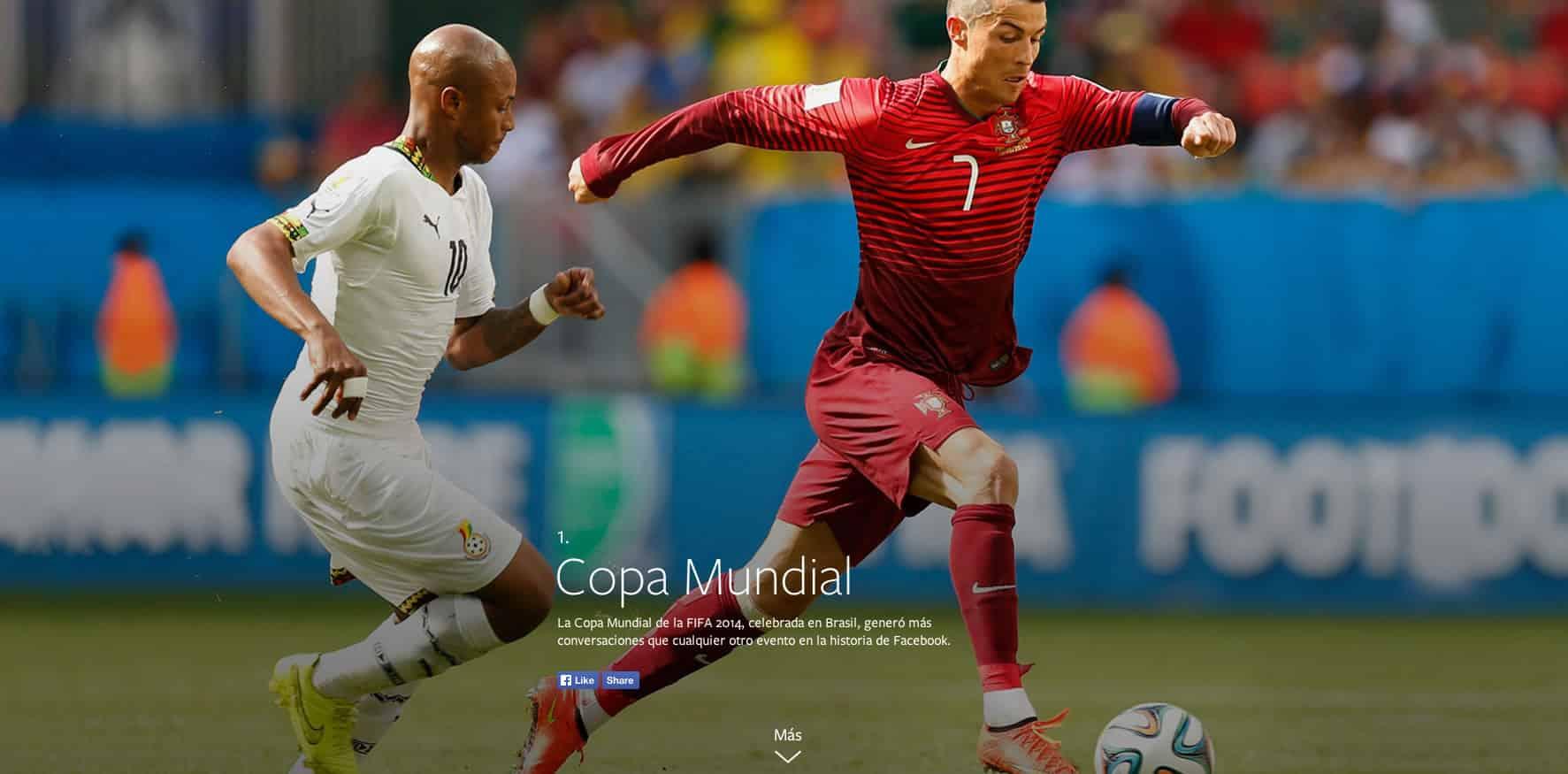 Según Year in Review, lo más comentado en Facebook fue la Copa del Mundo de fútbol.