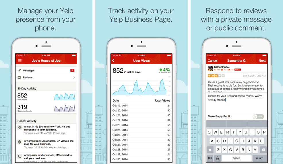 Yelp for Business Owners en iOS.