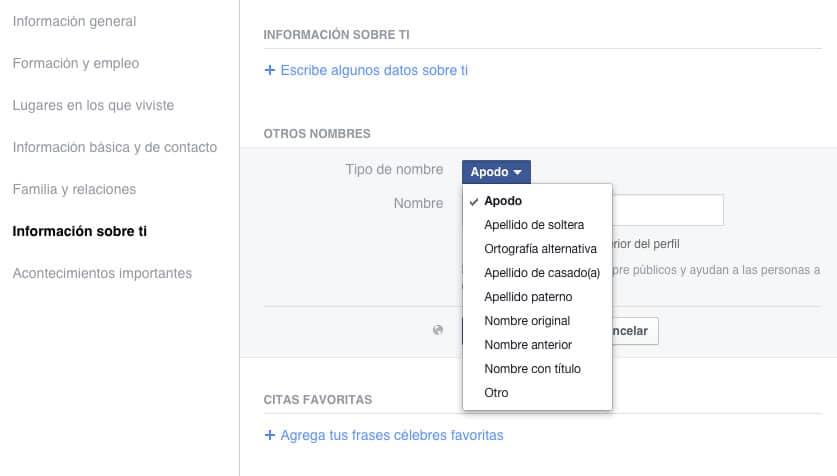 Configuración en Facebook para agregar apodos u otro tipo de nombres.