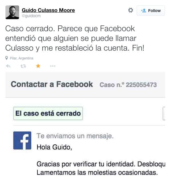 Guido Culasso informando que Facebook le desbloqueó su cuenta.