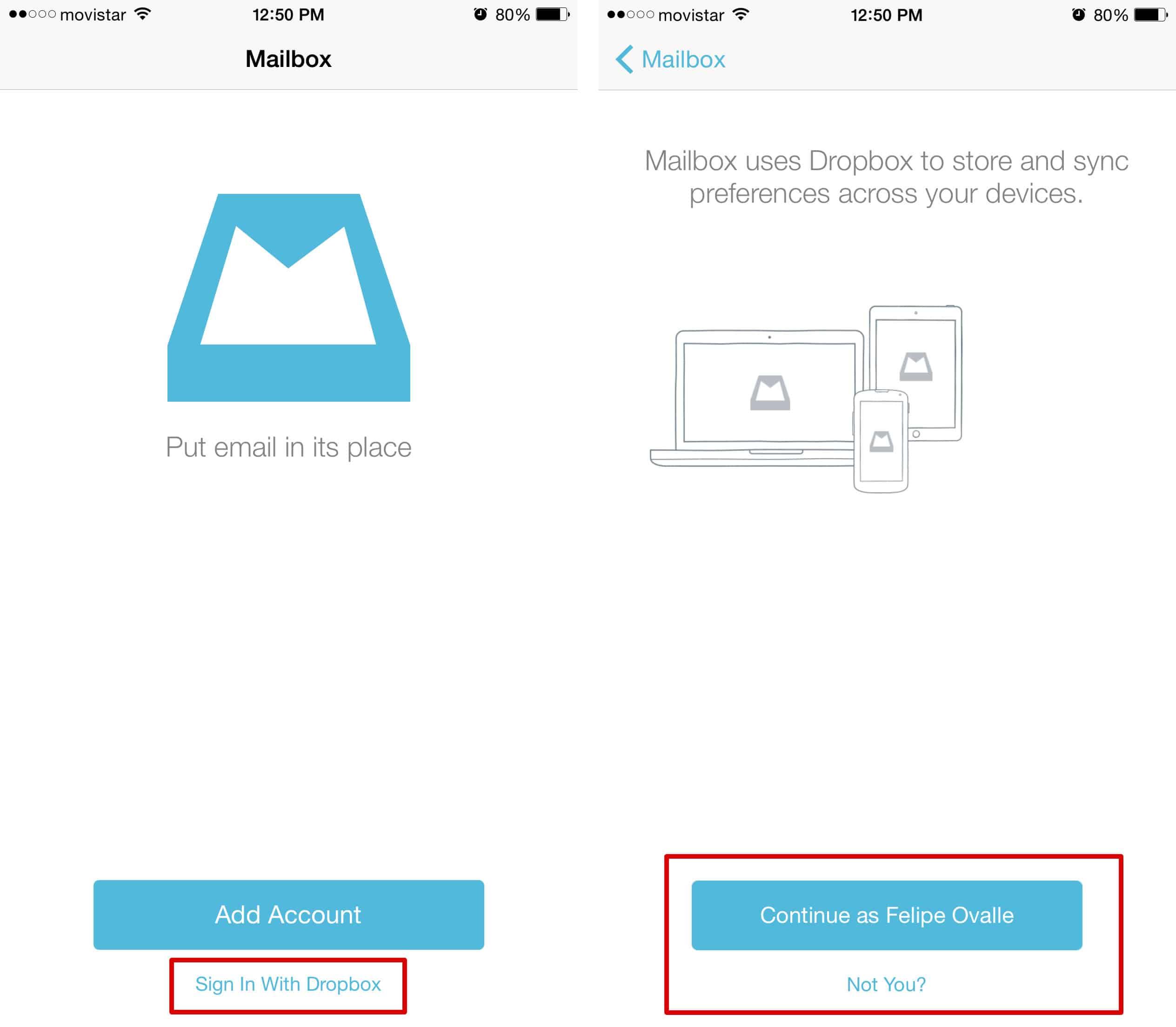 Una vez abierto Mailbox, sólo inicia sesión con Dropbox y se sumará 1GB extra.