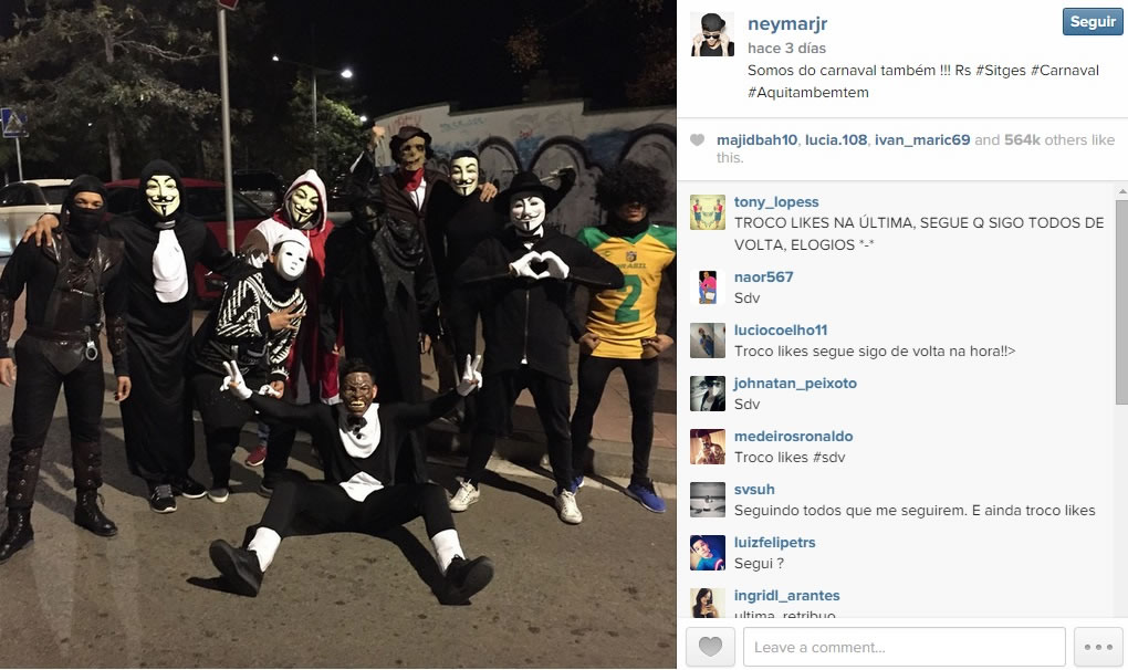 """Esta foto de Neymar celebrando el carnaval a lo lejos, fue una con más """"me gusta""""."""