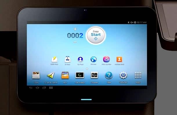 Los modelos multifuncional con Android, incluyen esta pantalla que prácticamente es una tableta independiente.