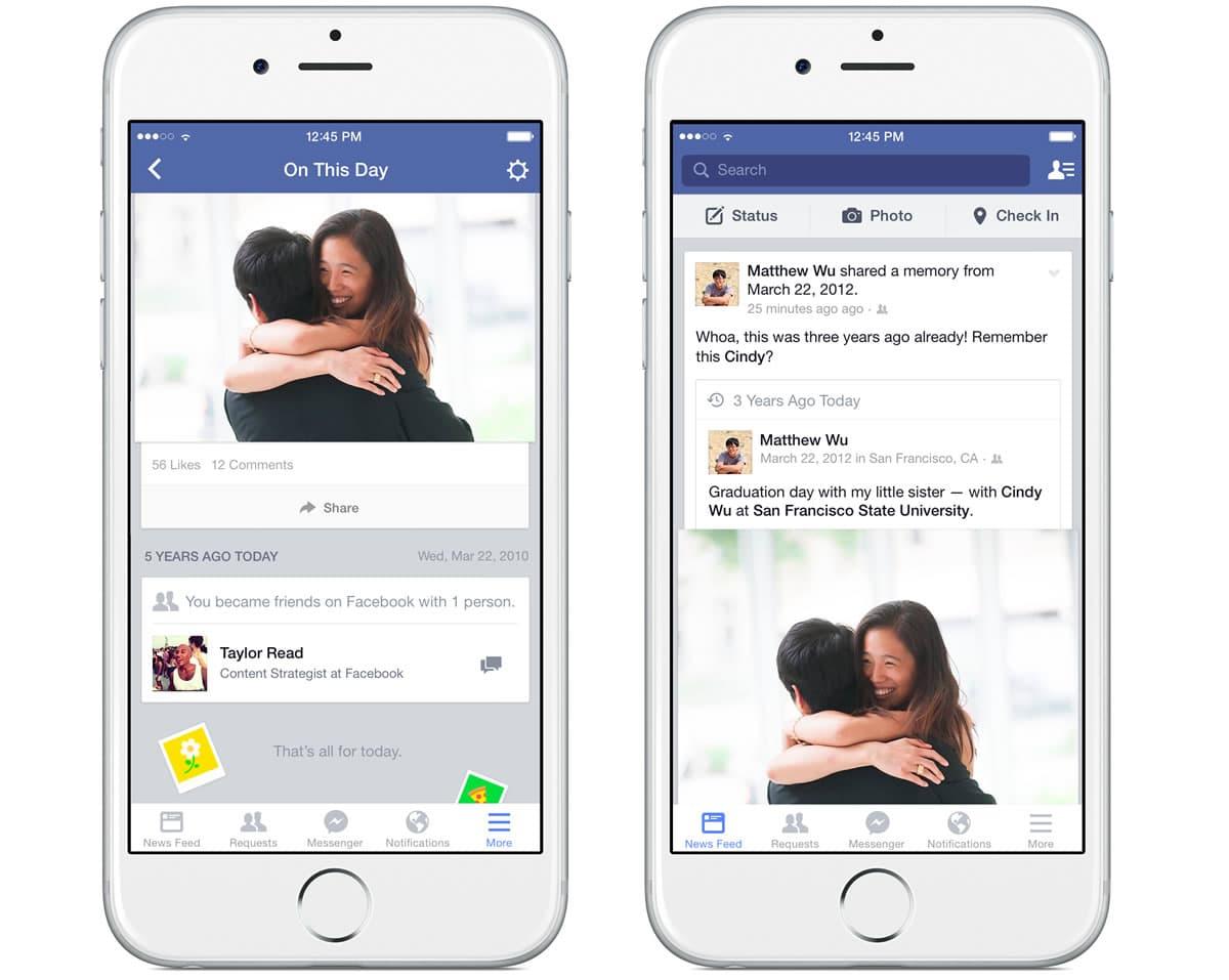 """Así luce """"Este día"""" en Facebook para iOS que pronto estará disponible para todo el mundo."""