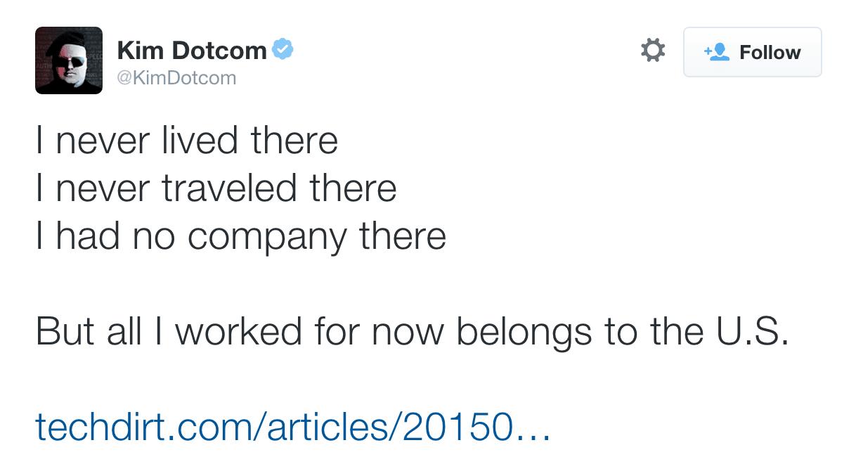 Dotcom acusa que ni siquiera ha estado en Estados Unidos y le roban su dinero.