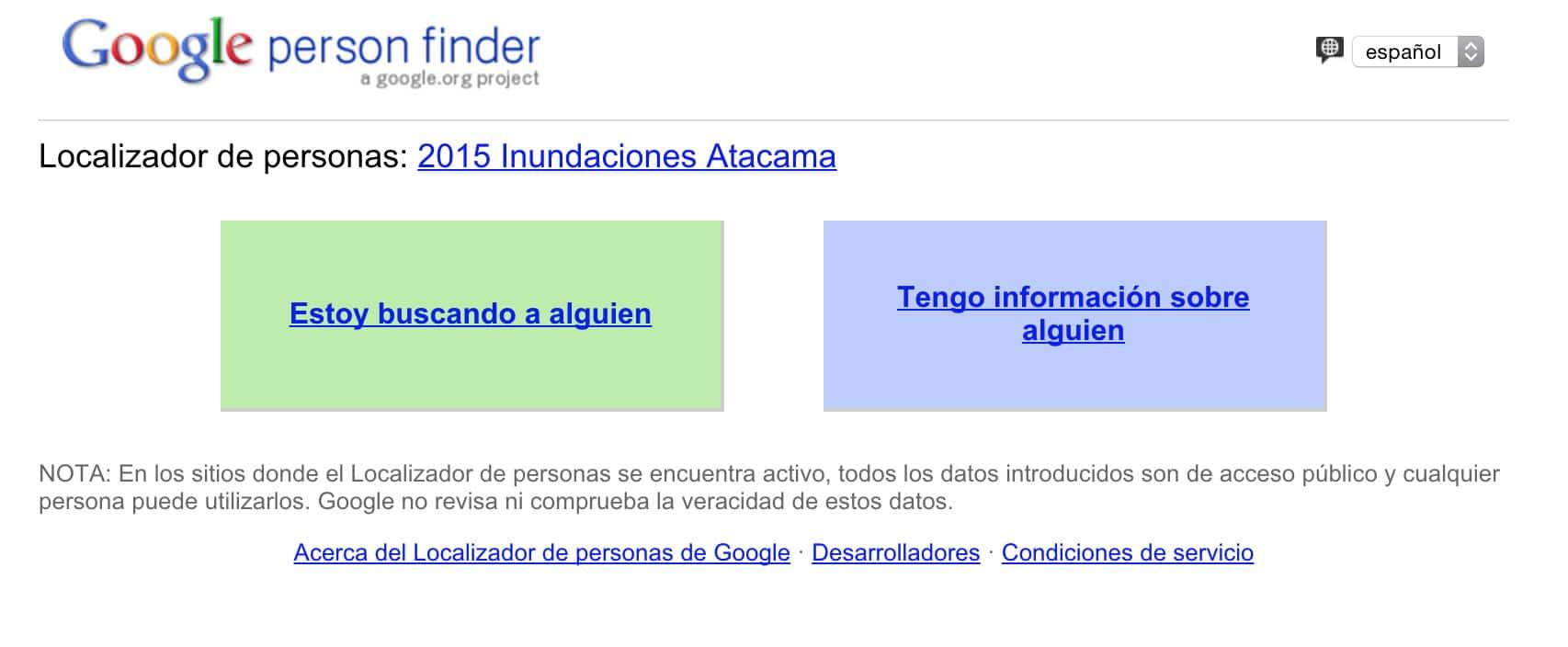 En Person Finder puedes proveer información de alguien desaparecido o buscar a un cercano.