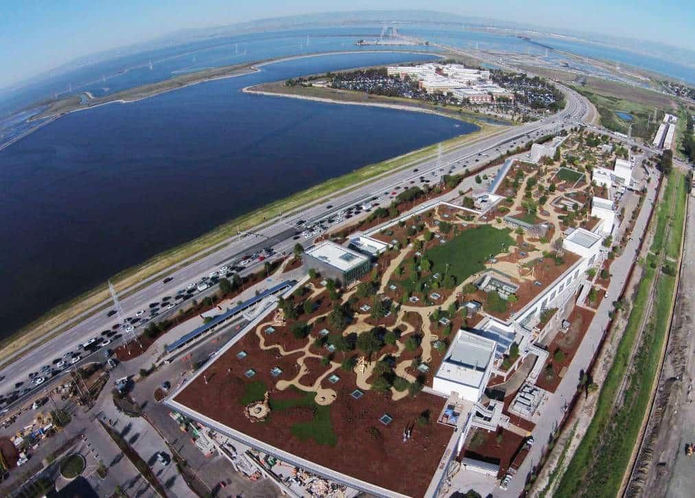 Menlo Park: Vista aérea de la nueva sede de Facebook que presentó Mark Zuckerberg.