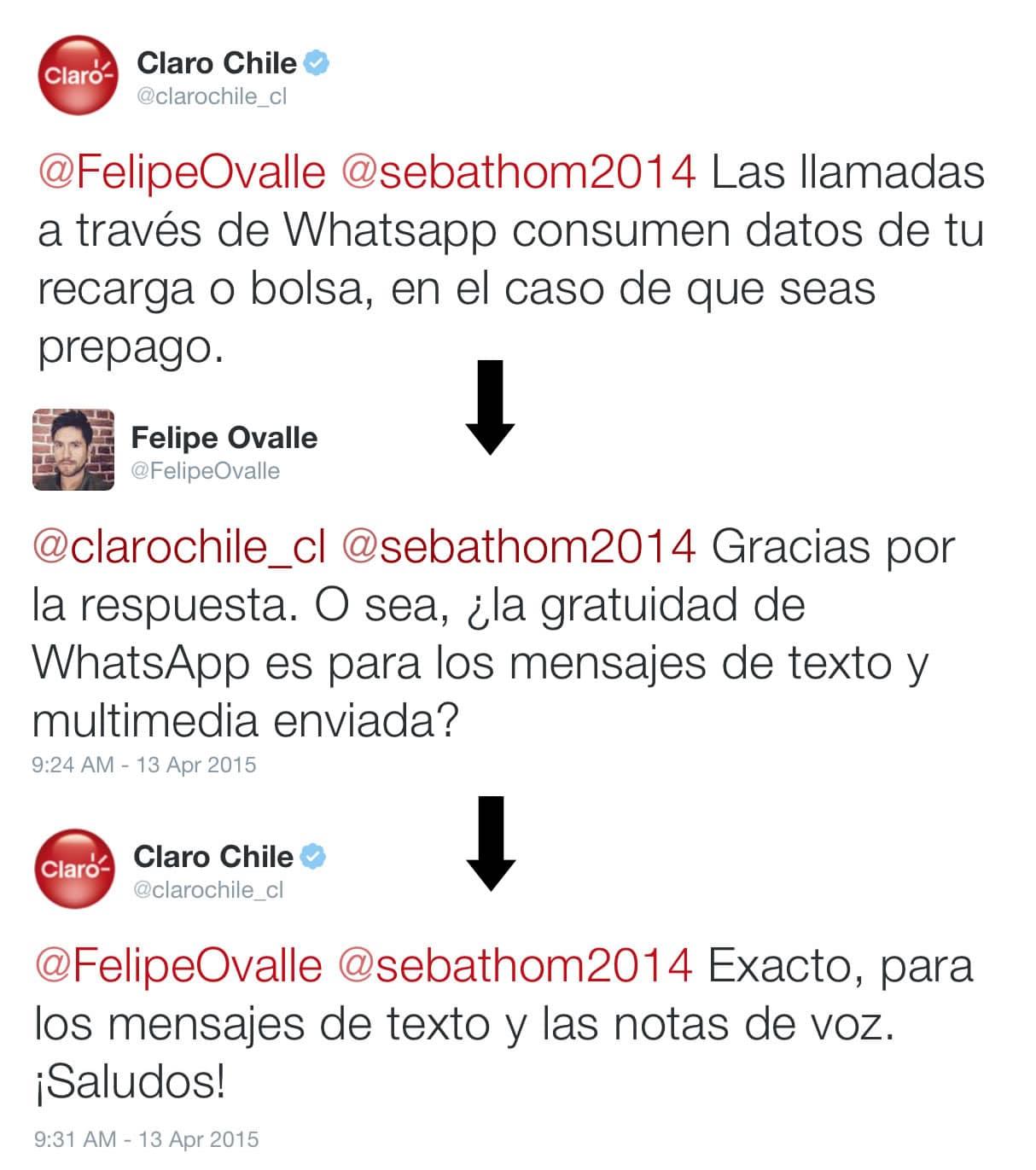 Llamadas de voz en Claro Chile. Ellos explican que no corren en su promoción.