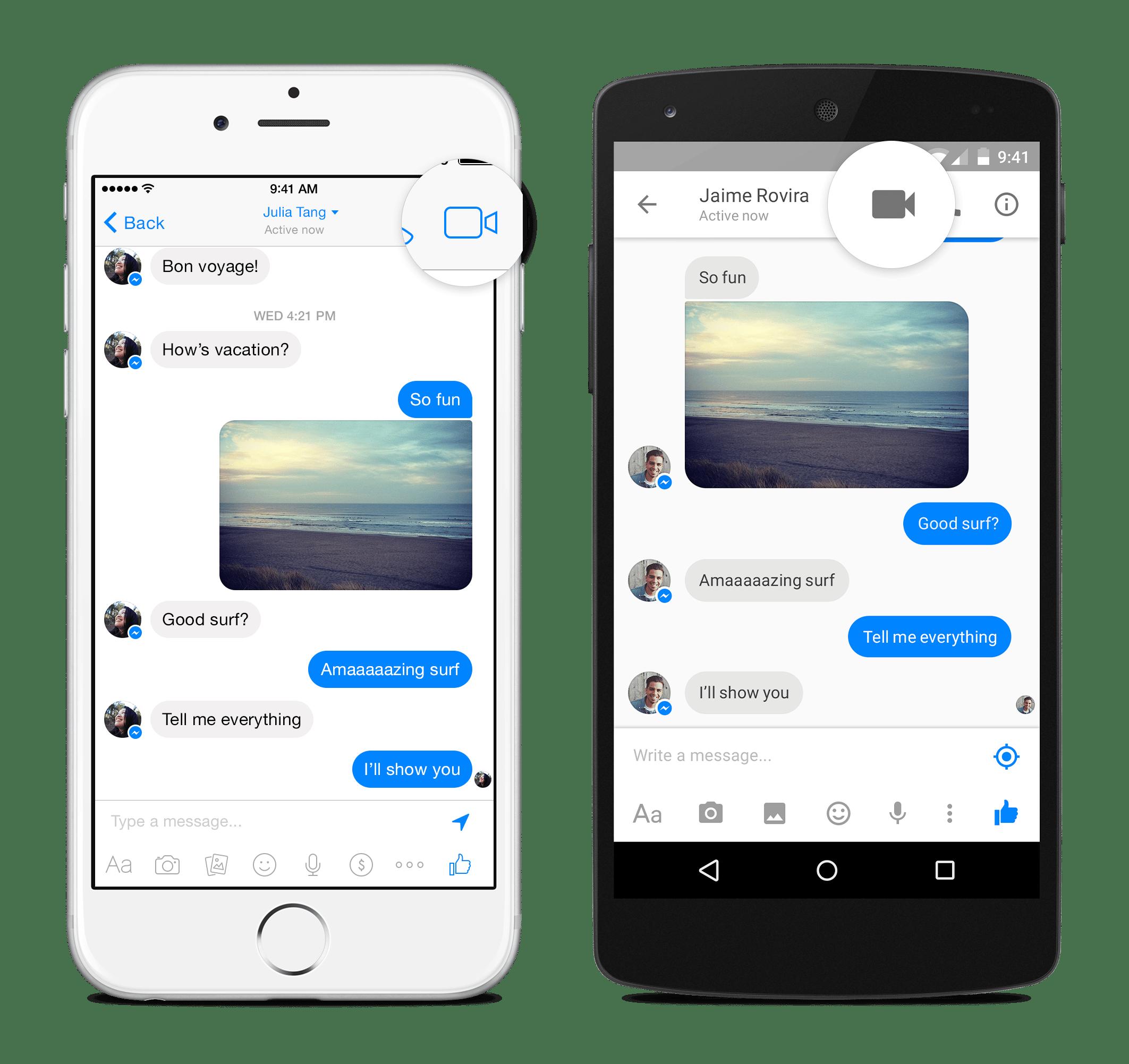 Facebook Messenger se igualó a otros servicios de mensajería e incorporó videollamadas.