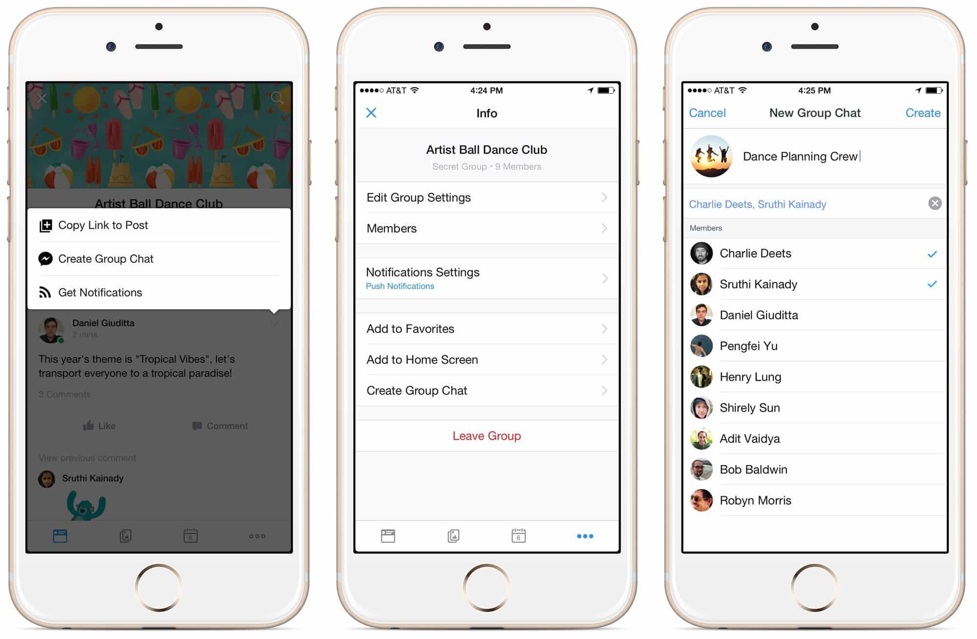 Para chatear con usuarios de los grupos, necesitarás instalar Messenger.
