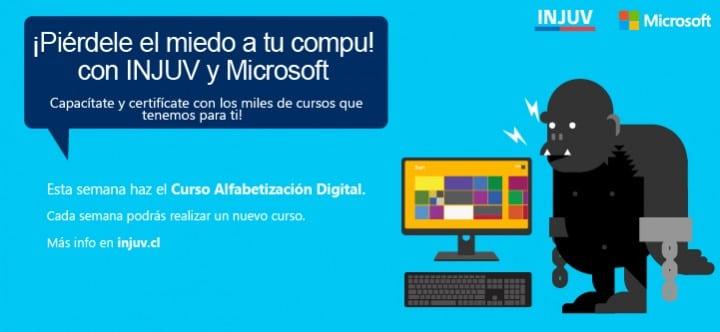 Cursos de Microsoft e INJUV.