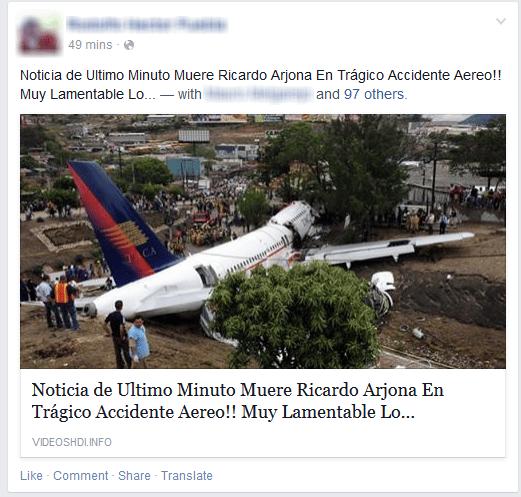 Así luce el falso mensaje que anuncia la muerte de Ricardo Arjona.