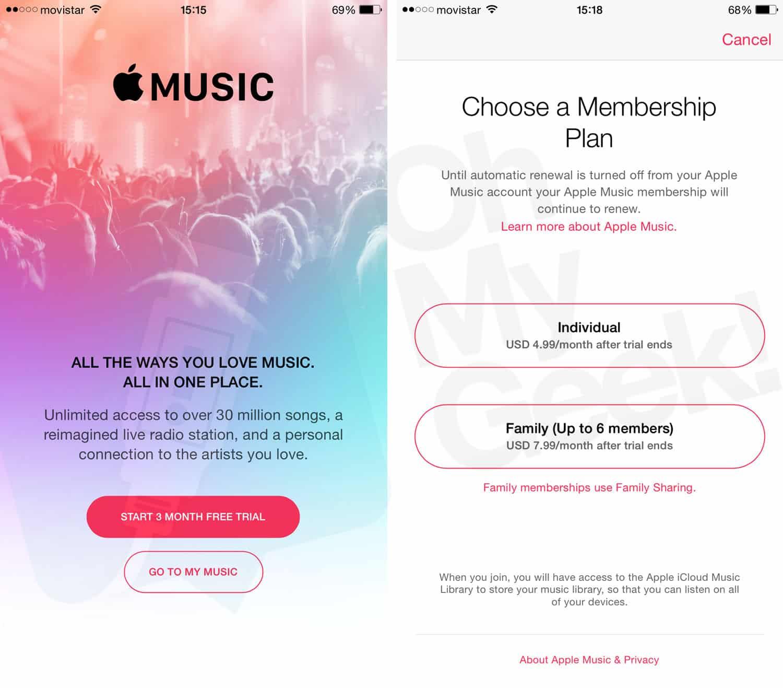 Apple Music ofrecerá planes individuales y familiares.