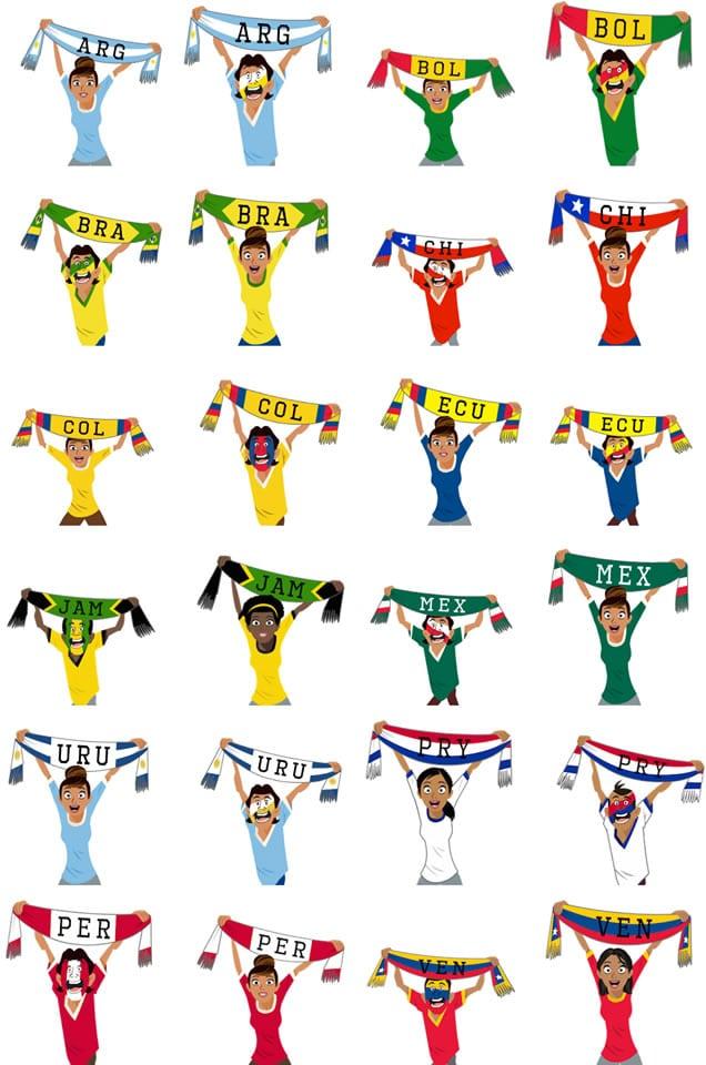 Stickers de la Copa América en Facebook.