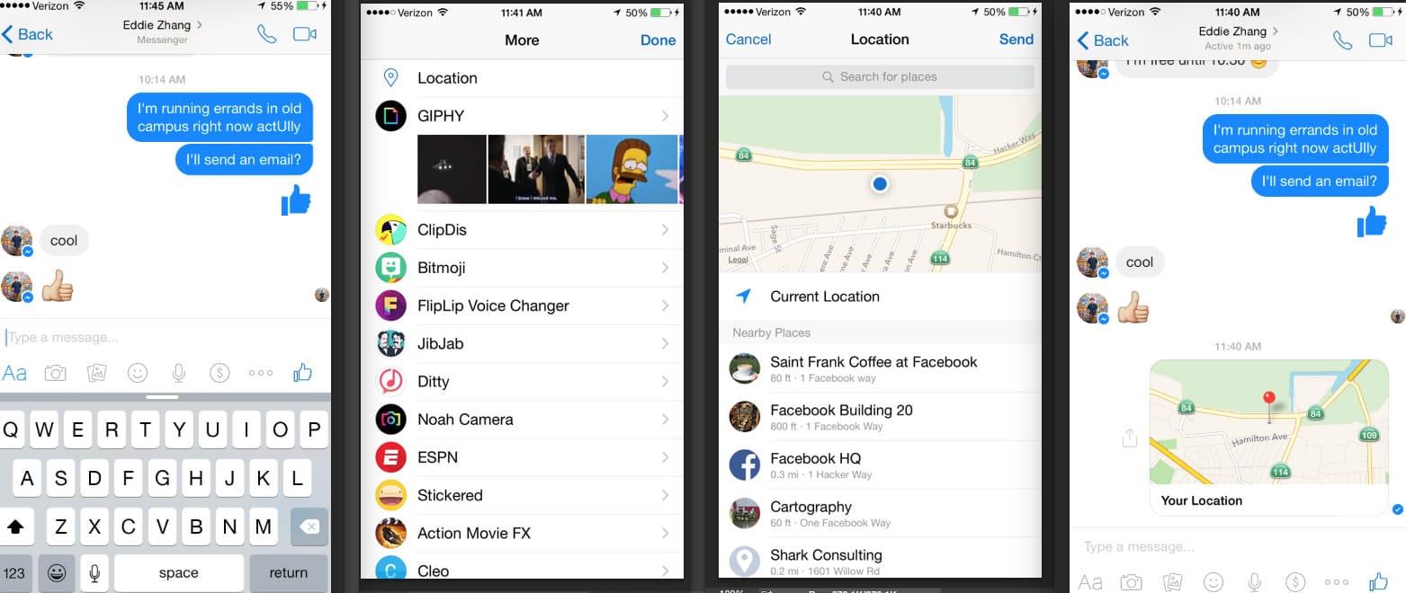 Así es la nueva forma de compartir ubicaciones en Messenger de Facebook.