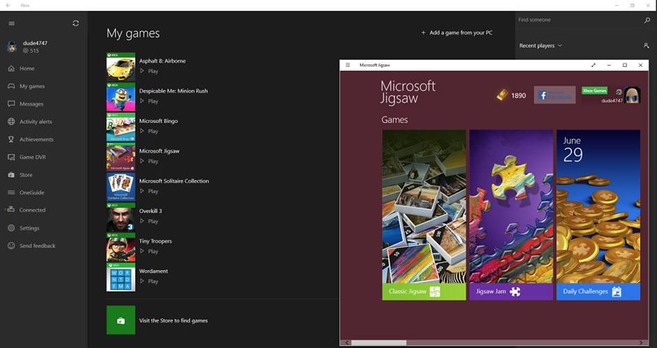 App de Xbox One en Windows 10.
