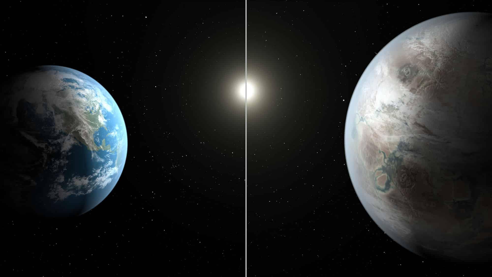 Kepler-452b compara a la Tierra en tamaño.