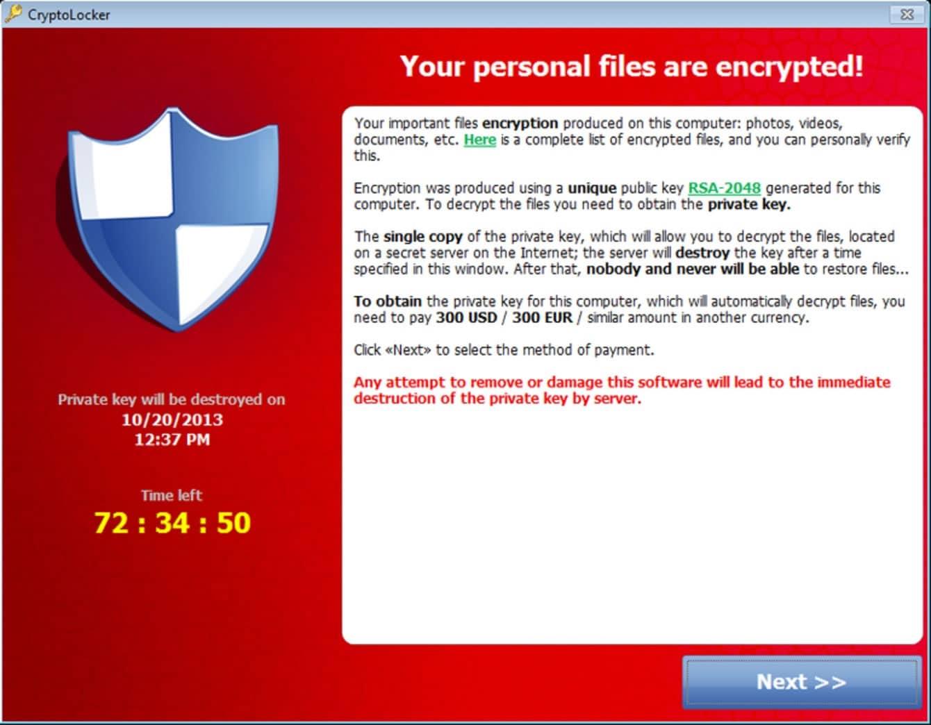 Cryptolocker es uno de los 'virus' tipo ransomware más conocidos.