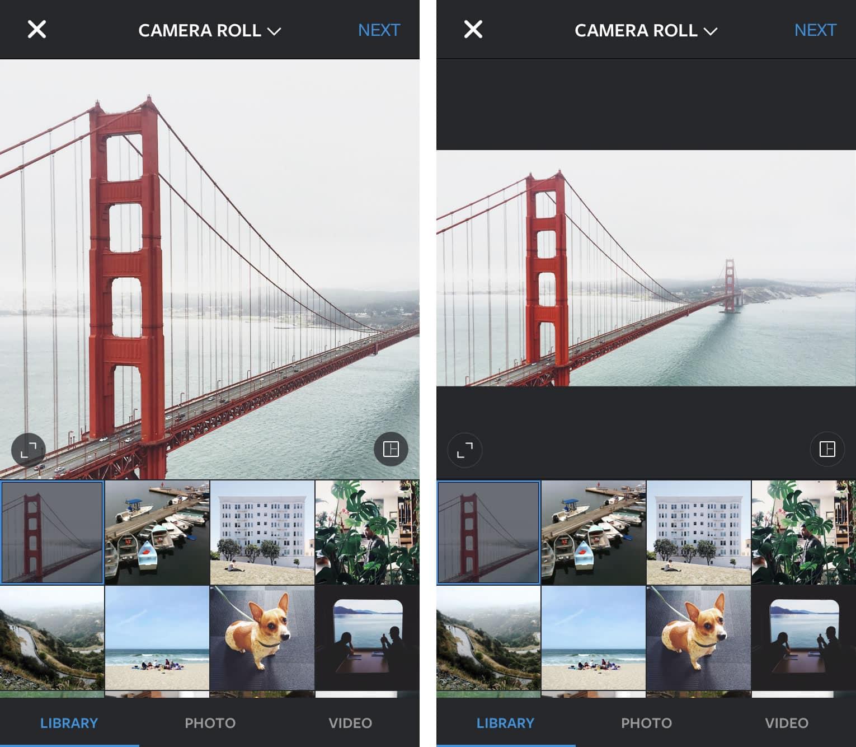 Instagram: Cuando estás escogiendo la foto en tu librería aparecerá el ícono para cambiar el formato.