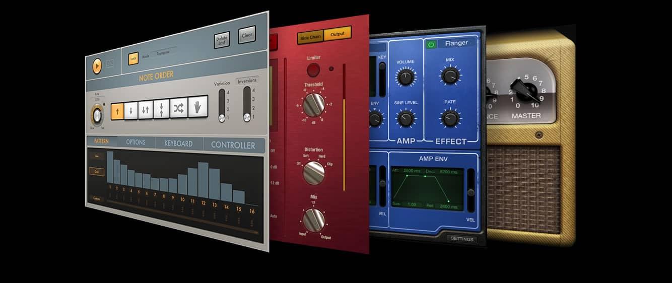 Además de la biblioteca de sonidos, Logic Pro X 10.2 incluye varios plug-ins.