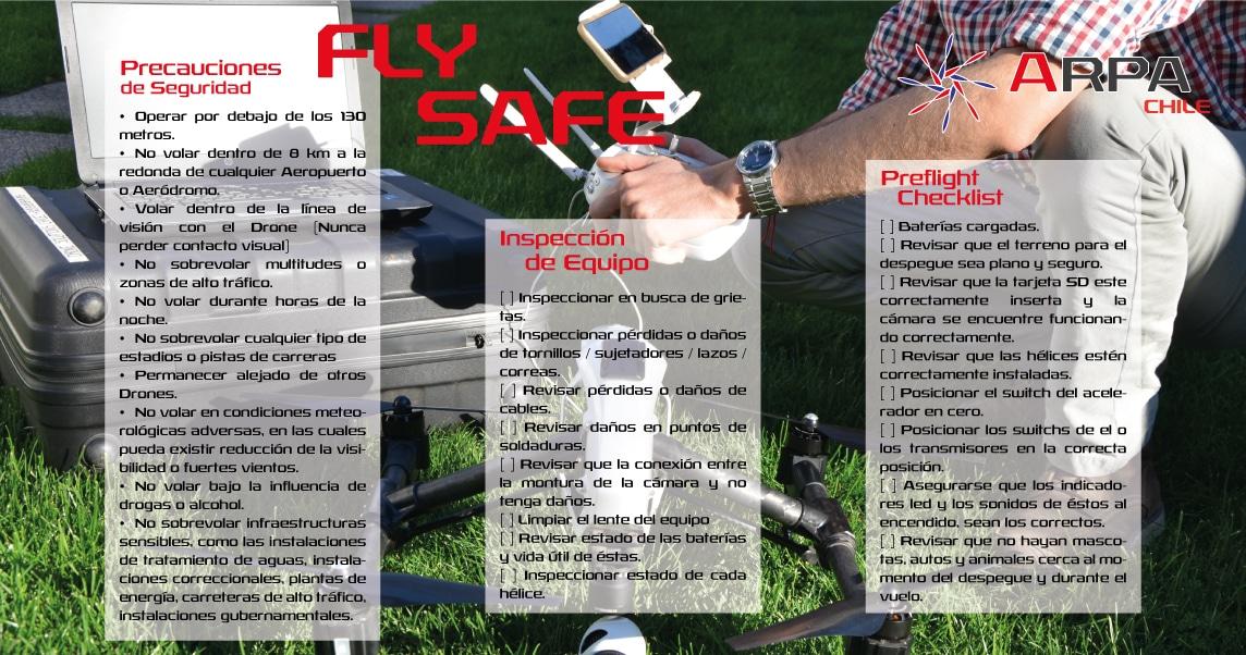 Arpa Chile entrega instrucciones de uso responsable de Drones en su Web.
