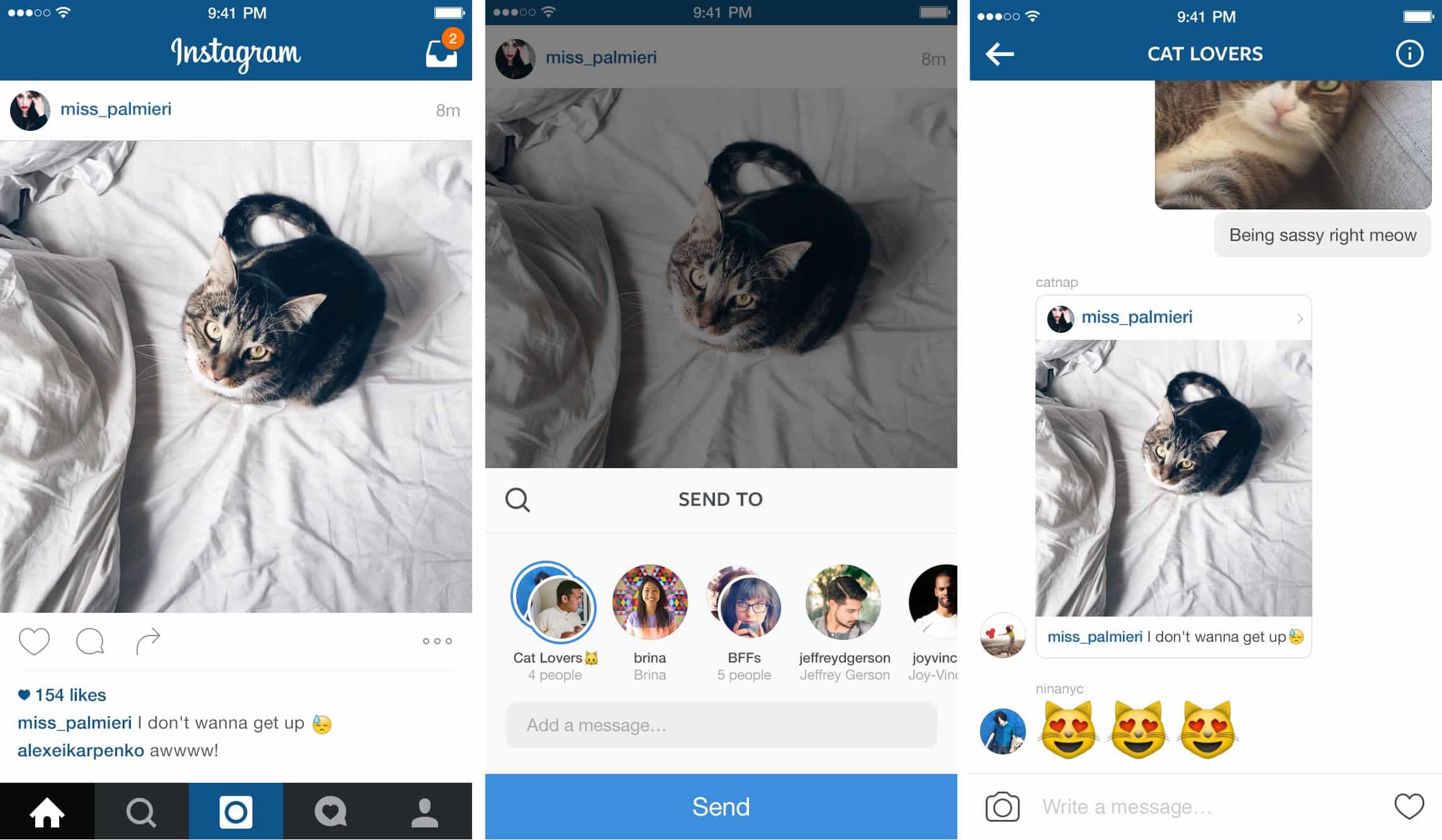Ahora desde el mismo feed se pueden compartir fotos a Direct.