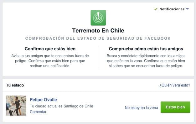 En Facebook puedes avisar que estás bien y sin peligro por el terremoto.