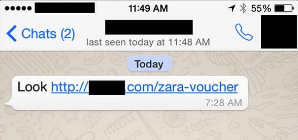 Falso voucher H&M: Al igual que la estafa anterior, por WhatsApp se comparte una dirección maliciosa.