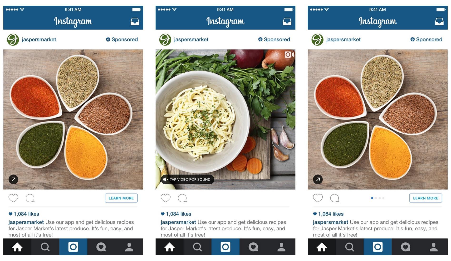 La publicidad en Instagram puede ser de una foto, video o carrusel de imágenes.