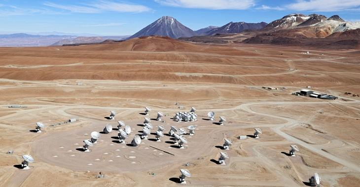 Red de radiotelescopios de ALMA.