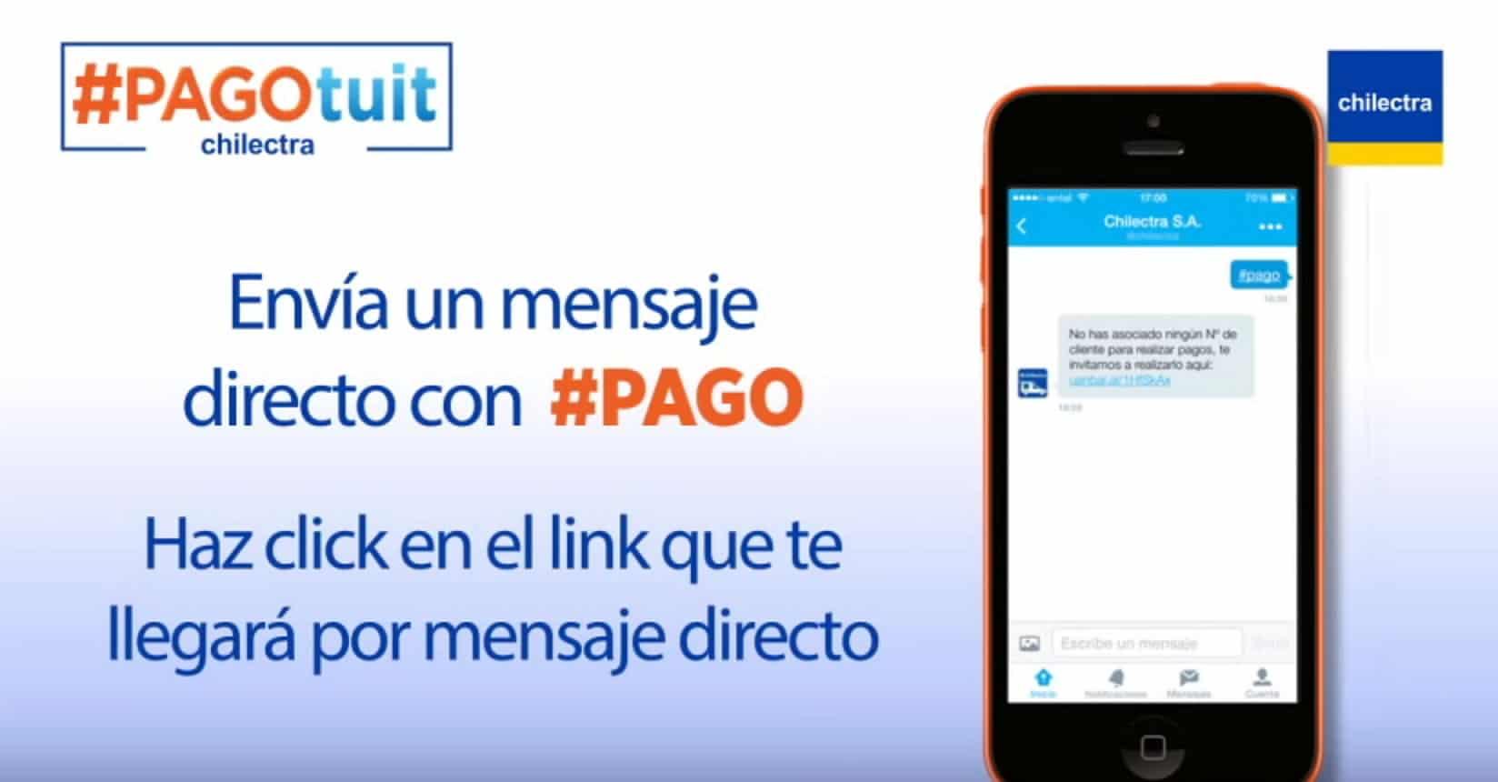 PagoTuit te enviará un link por DM para ahorrarte el entrar a la Web de Chilectra.